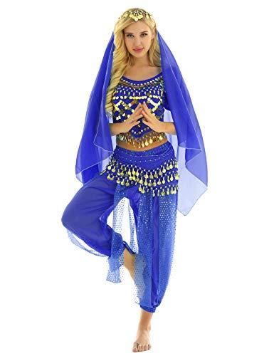 Yeahdor Bauchtanz Kostüm Damen Set 4Pcs Tanzkostüm Sexy Indische Verkleidung Mützen Oberteil+ Haremshose+ Hüftschal+ Schleier Arabien 1001 Nacht Cosplay Königsblau One Size