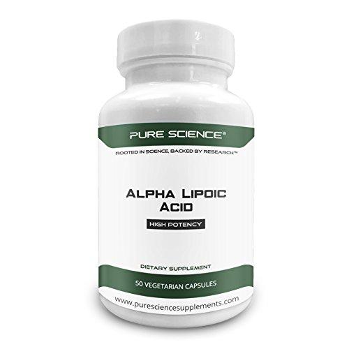 Pure Science Ácido alfa lipoico 600mg - Suplemento de alta fuerza rico en antioxidantes para la salud celular - Polvo de ácido alfa lipoico puro en forma de cápsula vegana - 50 cápsulas vegetarianas