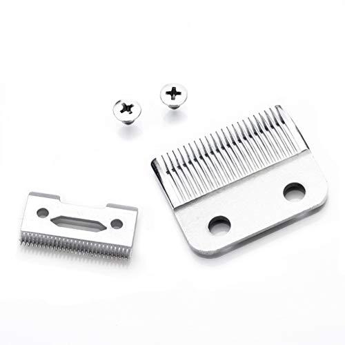 Gjyia Professionelle 2-Loch-Haarschneidemaschine Klinge High Karton Stahl Clipper Zubehör mit 2 Schrauben für elektrische Trimmer Rasierer Schneidemaschine silberfarben