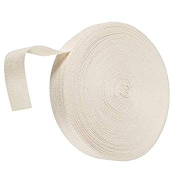 Abbaoww 3/4 Inch Twill Tape Ribbon 100% Cotton Natural Color 55 Yard Webbing Tape Herringbone Tape Bias for DIY Crafts Sewing