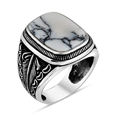 Authentic Carved Handmade 925 Sterling Silver Men's Ring with Veined White Turquoise Stone Natural Stone Leaf Pattern (X)