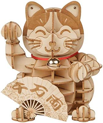 Rolife 3D Wooden Puzzle Lucky Cat 72pcs Japanese Maneki Neko Welcome Display Greeting for Blessing product image