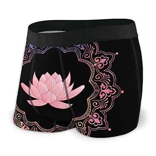 Calzoncillos bóxer para hombre, diseño de loto, color rosa Negro Neg