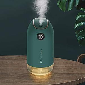 KANINO Humidificador Ultrasónico 500ML Portátil, Humidificador de Bebes con Luces Nocturnas Apagado Automático, Mini Difusor de Aceites Esenciales para Hogar, Oficina, Yoga, Verde