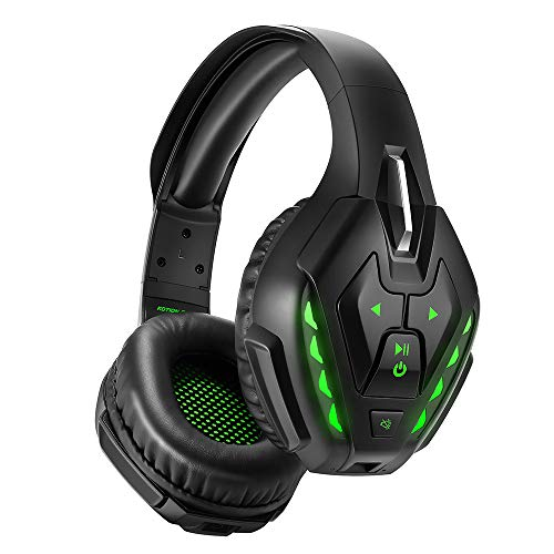 PHOINIKAS Detachable Wired Over Ear Gaming Headset for PS4, Xbox One, PC, Nintendo Switch, Noise Cancelling Microphone Headphones with 7.1 Bass Surround, Bluetooth Wireless Headset, 40 Hours Playtime
