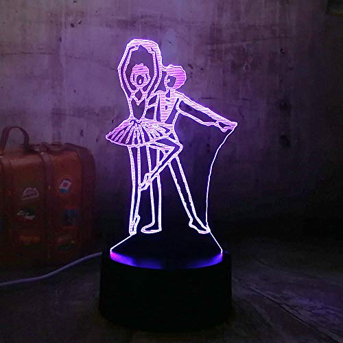 DFDLNL Schönes Geschenk led Beleuchtung tänzerin mädchen und Junge romantische acryl 3D RGB neuheit nachtlichter USB schreibtischlampe wohnkultur