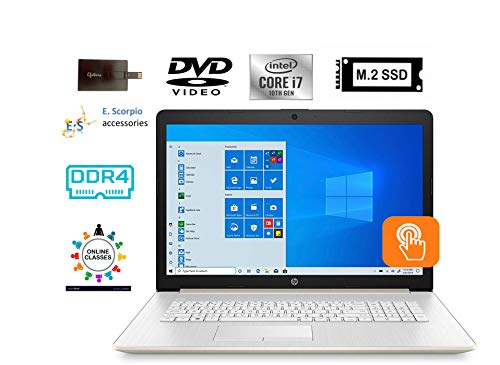 """2020 HP 17.3"""" HD+WLED Backlit Touchscreen Laptop Computer 10th Gen Intel Quard-Core i7 1065G7 up to 3.9GHz 8GB DDR4 RAM 512GB PCIe SSD DVD Webcam Windows 10 with E.S 32GB USB Card"""