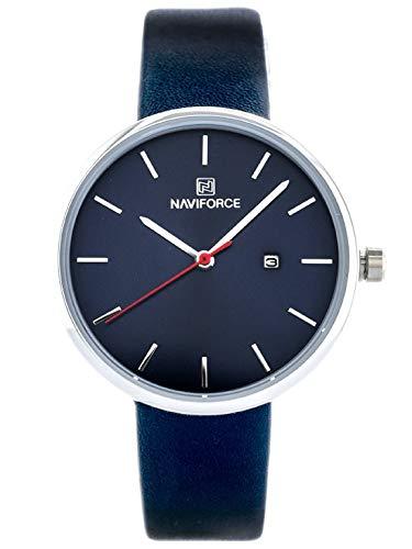 Naviforce - NF5002 - Reloj de Pulsera de Cuarzo Analógico para Mujer, Correa de Cuero, Impermeable (Banda: Azul Marino/Índice: Plata)