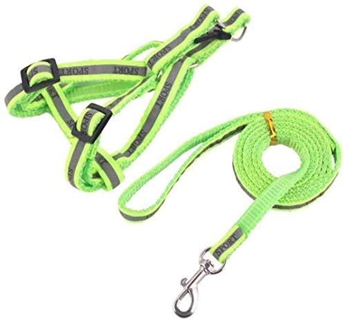 YIFEID Dog Lead Pet Vest Linen Chest Harness Set Back Multi-Color Reflective Nylon Leash Adjustable Pet Accessories Lets Lead For All Types Of Dogs, Walking Courses Outside Cats,Green