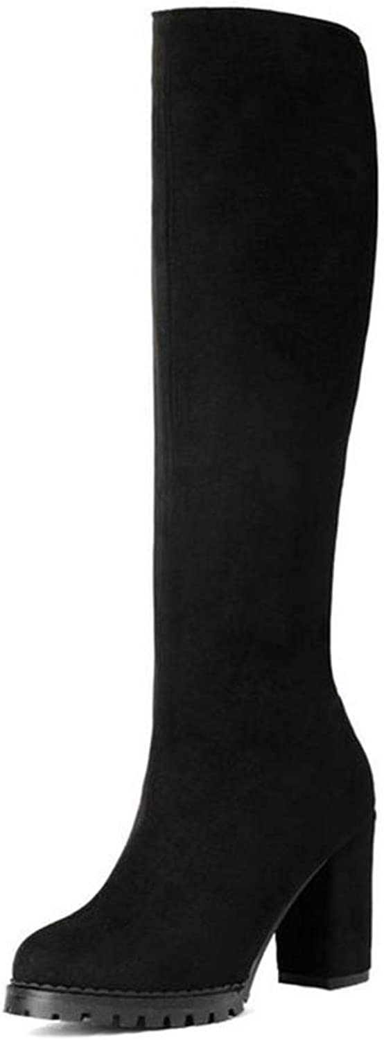 Hoxekle Knee High Boot Women Winter Long Boots Square Heel Round Toe Winter Casual Outdoor Boots