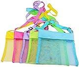 LEMAXELERS 5 Stücke Netztasche Strandtasche Strandspielzeug Tasche Tragetasche für Sandspielzeug Wasserspielzeug für Kinder Aufräumsack Spielsack Badetasche Beachbag Faltbar für Familie Urlaub,5 Piece