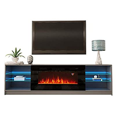 """Meble Furniture & Rugs Boston 01 Electric Fireplace Modern 79"""" TV Stand"""