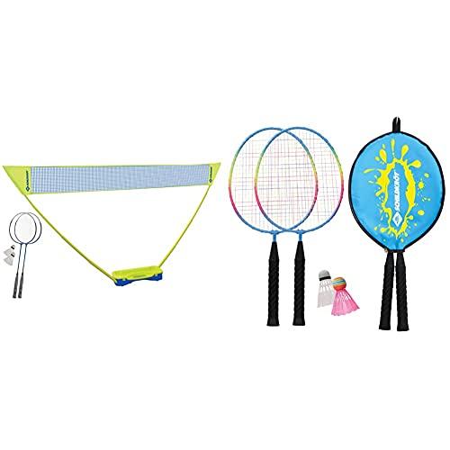 Schildkröt Badminton-Set Compact, inklusive Netz, 2 Schläger und 2 Bälle, im praktischen Kunststoffkoffer & Kinder Federball Set Junior, 2 verkürzte Schläger 45,5 cm, 2 Federbälle, in 3/4 Hülle