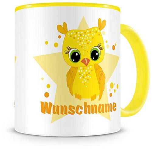 Samunshi® Kinder-Tasse mit Namen und einer gelben Baby Eule als Motiv Bild Kaffeetasse Teetasse Becher Kakaotasse Nr.4: gelb H:95mm / D:82mm