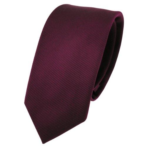 TigerTie schmale Designer Krawatte in bordeaux rot weinrot einfarbig Uni Rips gemustert