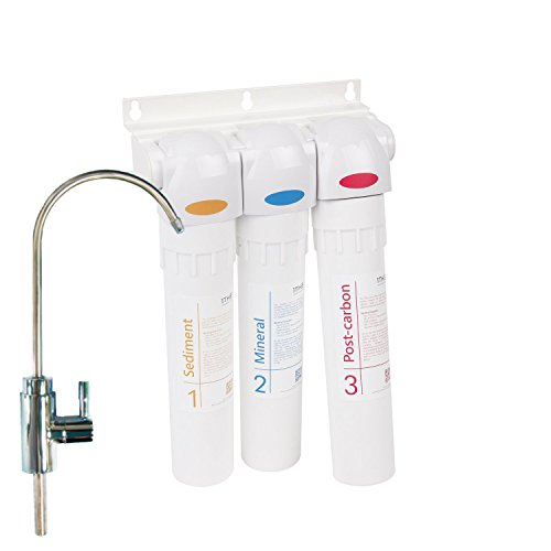 1THE Water Filter System Mineral Pro Set - 3-Stage Alkaline Mineral Under Sink Drinking Water Filtration, Easy Installation and Replacement Smart Alarm