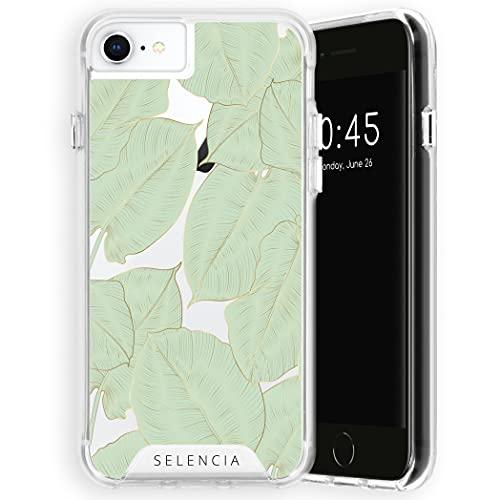 Selencia Compatible con iPhone 6/6S/7/8/SE 2020 – Zarya Fashion Back Cover Case – Carcasa rígida en oro verde botanic [Protección contra caídas hasta 1,2 m, compatibilidad Qi]