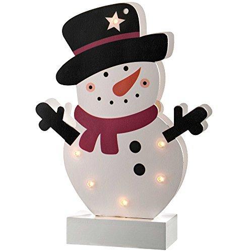 WeRChristmas–Decoración de Navidad Mesa de muñeco de Nieve de Colores, Madera, 24cm