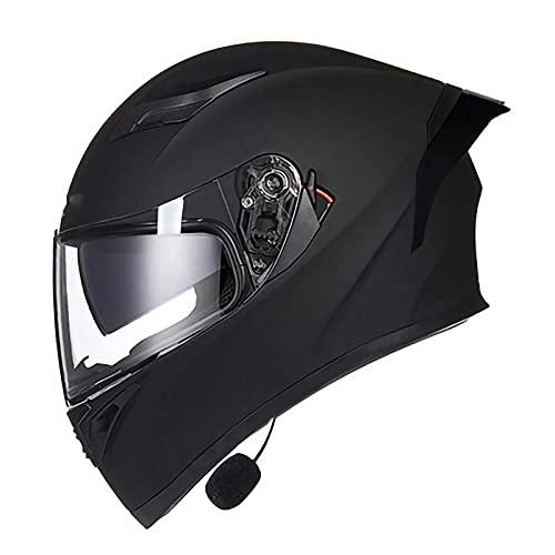 NBMNN Bluetooth Integrado Modular Casco Moto Integral para Motocicleta con Doble Visera para Adultos Hombres Mujeres, Dot/ECE Homologado C,L=58~59CM