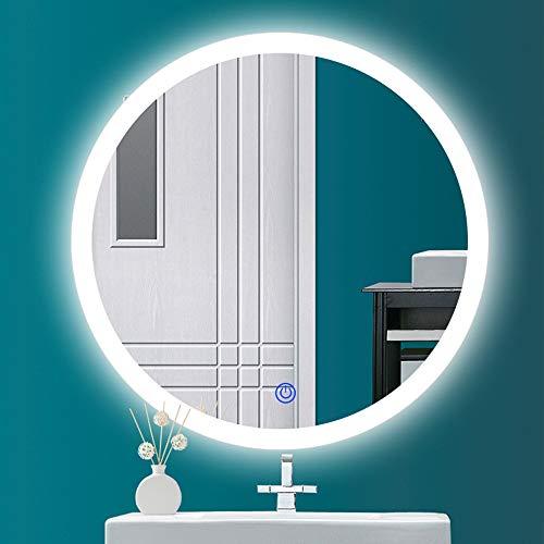 HIL LED-spiegellamp, anti-condens, rond, badkamer, touchscreen, intelligent, make-upspiegel, spiegel, verlicht, wandspiegel zonder lijst