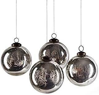 Serene Spaces Living Set of 4 Antique Silver Mercury Glass Balls, Ornaments for Holiday Décor, Measures 4