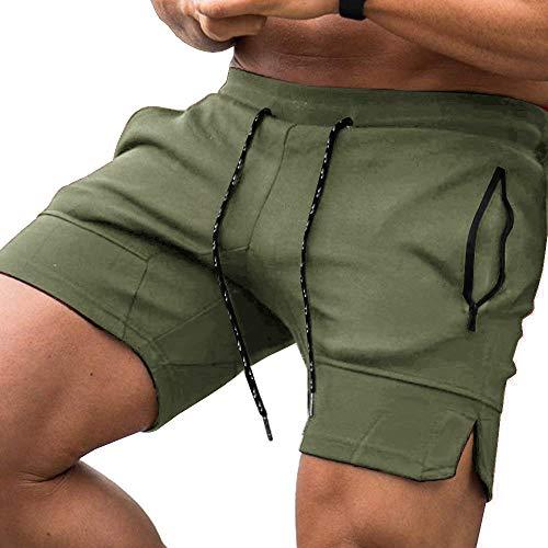 COOFANDY - Pantalones cortos para correr, ultraligeros, transpirables, para gimnasio, entrenamiento, correr, ciclismo, con bolsillo, Hombre, color 01-verde militar*, tamaño 42