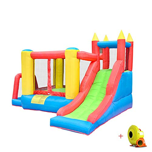 Pool Bouncy Castle Inflatable Water Slide Combo?Garden Jumper House Activity Play Center for Kids with Electric Air Blower Oxford Cloth Material 340X280X205CM Summer
