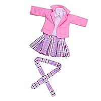 Fenteer 全3色 布製 18インチアメリカンガールドールのため カレッジスタイル 制服 服セット - ピンク
