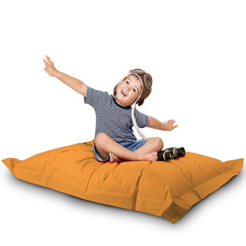 Lazy Bag Original Indoor & Outdoor Sitzsack XL 250 Liter Riesensitzsack Junior-Sitzkissen Sessel für Kinder & Erwachsene 160x120 (Orange)