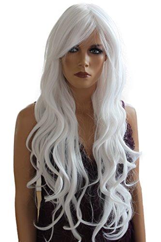 PRETTYSHOP Unisexe Perruque Pleine Cheveux Longs Fibres Synthétiques Résistant à La Chaleur Ondulé Volumineux blanc pur # 60B FS836I