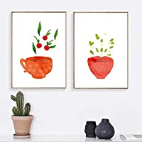 Watercolor Art Canvas Painting Prints Kitchenware Wall Art Posters Pictures Tea Cup For Dining Hall Kitchen Home Decoration 50x70cmx2 Unframed gifts
