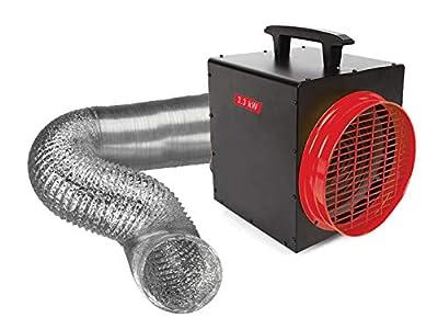 Calefactor eléctrico con termostato y manguera de aire, 3300 W