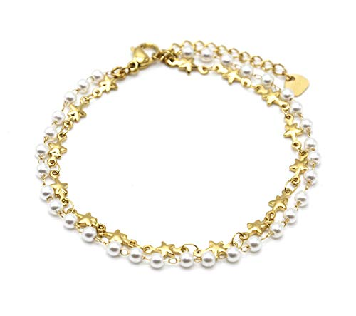 Oh My Shop BC4246 – Pulsera de doble cadena con estrellas de acero dorado con pequeñas perlas blancas