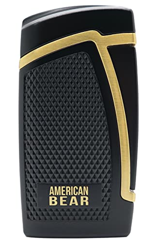 AMERICAN BEAR Double Torch Refillable Butane Pocket Cigar Lighter. Punch Cut, Windproof, Refill Window, Luxurious Black and Gold Finish. (Does NOT Include Butane)