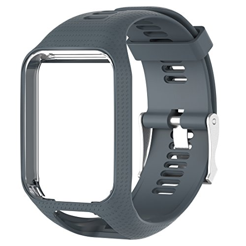 MOTONG Silicone Replacement Band for Tomtom Adventurer,Tomtom Golfer 2,Tomtom Runner 2,Tomtom Runner 3,Tomtom Spark,Tomtom Spark 3 (Silicone Gray)