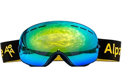 Alpzone Skibrille Snowboardbrille Goggle voll verspiegelt Antifog mit Wechselglas Etui (Schwarz)