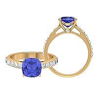 8MM クッションカットラボ人工タンザナイトソリティアリング D-VSSI モアッサナイトリング、サイドストーン付きソリティアリング、ゴールド婚約指輪 (AAA品質), 10K イエローゴールド, Size: 19