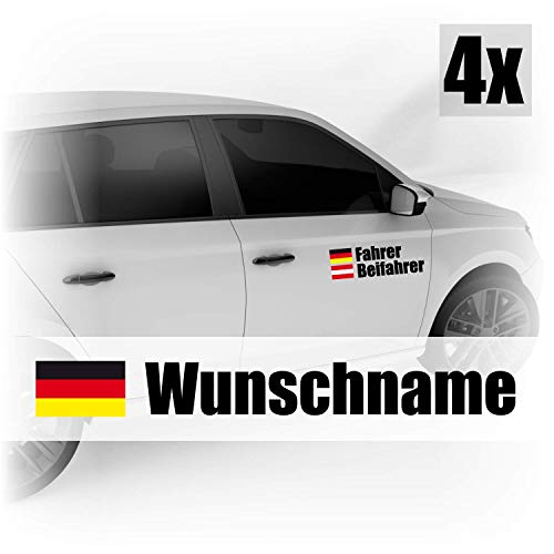 Klebe-X Autoaufkleber Name & Flagge | Fahrer - Beifahrer 4er Set - Wunschname Rallye/DTM / Racing Design - Konfiguration