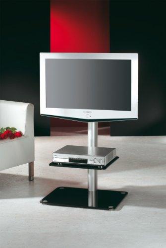 VCM Alina LCD-Standfuß mit Zwischenboden Aluminium/Schwarzglas