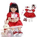24 Pouces 60 cm Yeux Bruns et Cheveux Longs poupée Reborn poupée Fille Priness, Vinyle Souple Silicone Coton Corps Vie comme bébé poupée Reborn