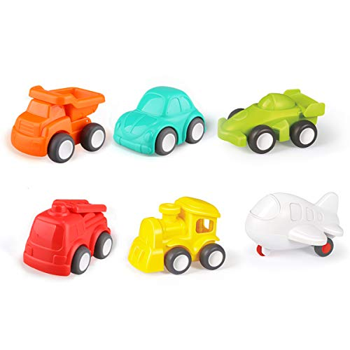 Zooawa Pocket Vehicles Toys, Mini Cognitive Sliding Toy Cars, 6 Pack for Boys Toddlers Kids - Engineering Car, Sedan Car, Racing Car, Fire Fighting Truck, Plane, Train - Colorful