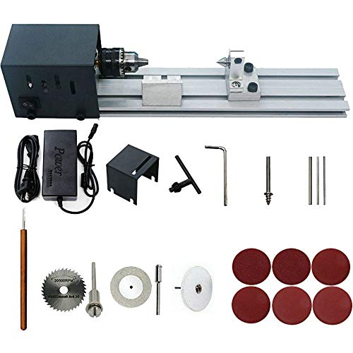 HUBEST 4000-8000 rev/min 7 speed power supply Precise Mini Wood Lathe Machine Mini DIY Woodworking Lathe Drill for Model Making