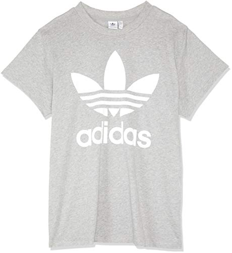 adidas Damen Big Trefoil T-Shirt, Medium Grey Heather, 42