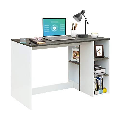 FurnitureR Escritorio de oficina-computadora con almacenamiento, escritorio de estudio-trabajo con 5 estantes, escritorio para...