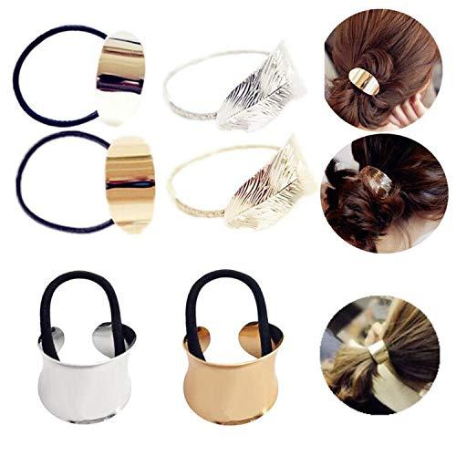 JinYu 6 Stück Kreis Manschette Metall Haargummis Metall Pferdeschwanz Halter Metall Blatt Haarseil Punk Metall Haarmanschette für Frauen Mädchen tragen