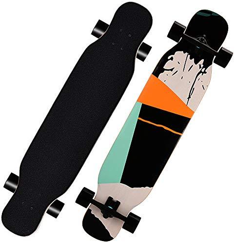 MQLOON Longboard Skateboards Skateboard completo Cruiser Dancing Longboard Legno d Acero Freeride per Giovani, Adulti Bambini Principiante Adulti Ragazzi Ragazze (118cm)