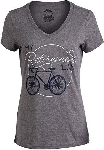 SWT-T Fashion My Retirement Plan (Bicicletta) divertente ciclismo bike scherzo t-shirt con scollo a V da donna Grigio XXL