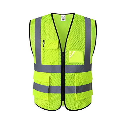 XIAKE Mesh Safety Vest High Visibility Reflective Vest with Pockets and Zipper, Meets ANSI/ISEA Standards,Yellow,X-Large