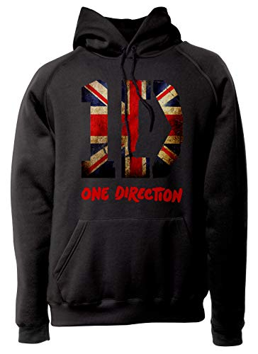 LaMAGLIERIA Unisex-Hoodie One Direction - Uk Flag Textured - Hoodie Boy Band, M, schwarz