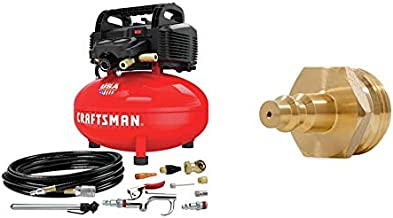 CRAFTSMAN Air Compressor, 6 Gallon, Pancake, Oil-Free with 13 Piece Accessory Kit (CMEC6150K) & Camco Blow Out Plug With Brass Quick Connect-Aids in Removal of Water From Water Lines (36143)